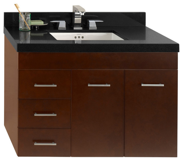 """ronbow bella solid wood 36"""" wall mount vanity base cabinet"""