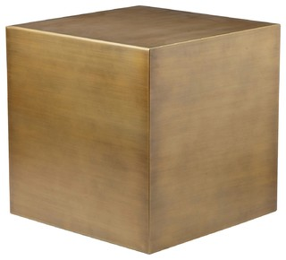 Cube Side Table, Brushed Brass, Large   Side Tables And End Tables