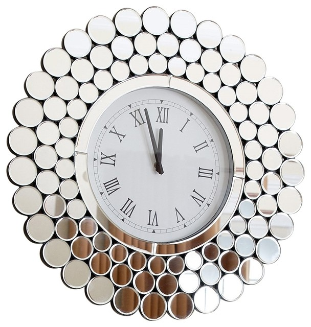Radiance Round Wall Mirror Clock Contemporary Wall