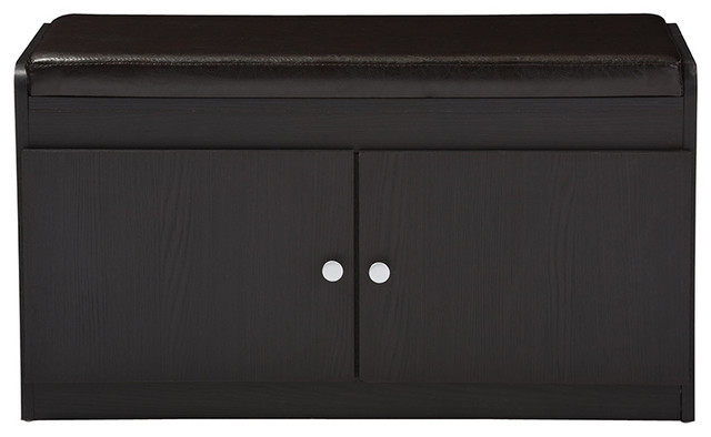 Margaret Wood 2-Door Shoe Cabinet With Faux Leather Seating Bench ...