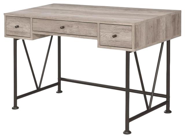 Writing Desk-3-Drawer, Driftwood Gray.