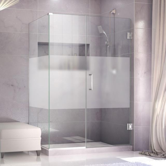 """Frosted Sliding Shower Doors unidoor plus 54-1/2"""" x 34-3/8"""" x 72"""" shower enclosure, half"""