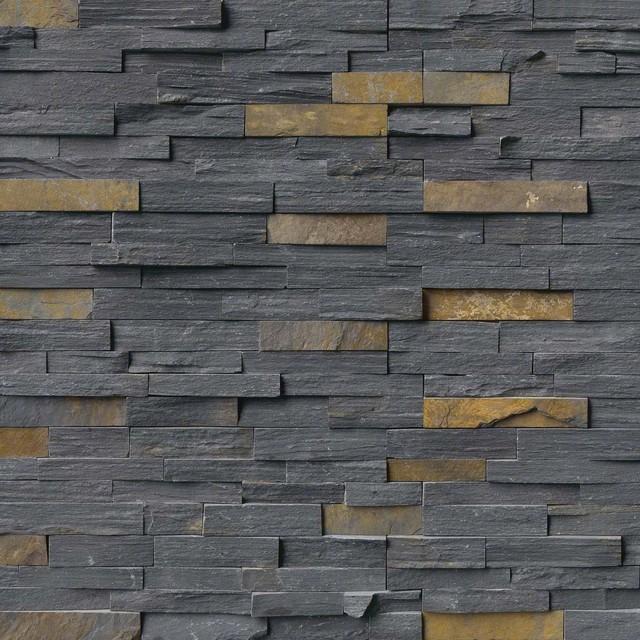 Charcoal Rust Stacked Stone, Split Face, 6x24, Slate, Hardscape, 10 Sqft.