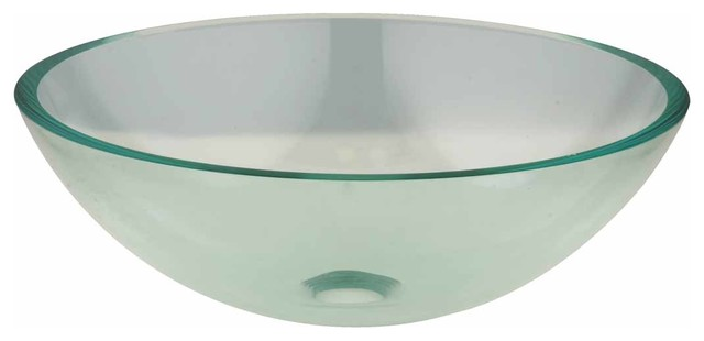Clear Tempered Glass Sink With Drain, Round Bowl Sink