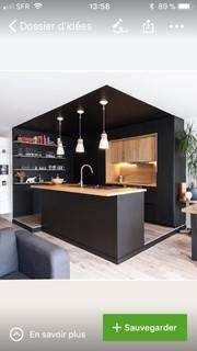 Un carrelage pour une cuisine noire et bois?