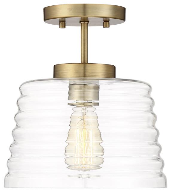 Macha Semi-Flush Mount Light, Natural Brass.