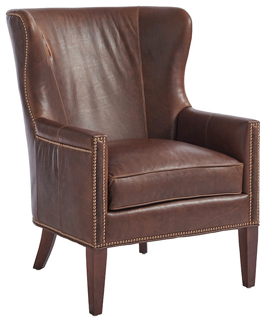 Avery Leather Wing Chair by Barclay Butera Furniture