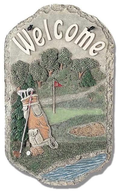 Welcome Sign Golf Porch Decor Resin, Golf Outdoor Decor