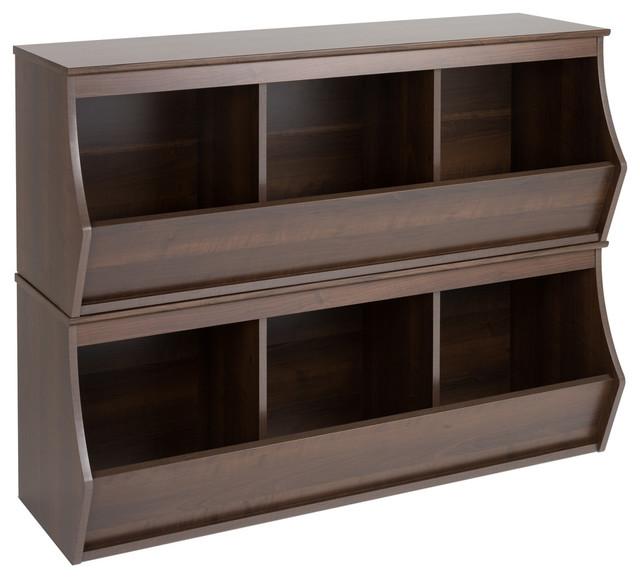 Fremont Stackable Storage Cubby, Espresso, 6 Bin