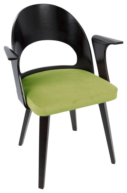 LumiSource Verino Dining Chair, Green Velvet and Espresso Legs
