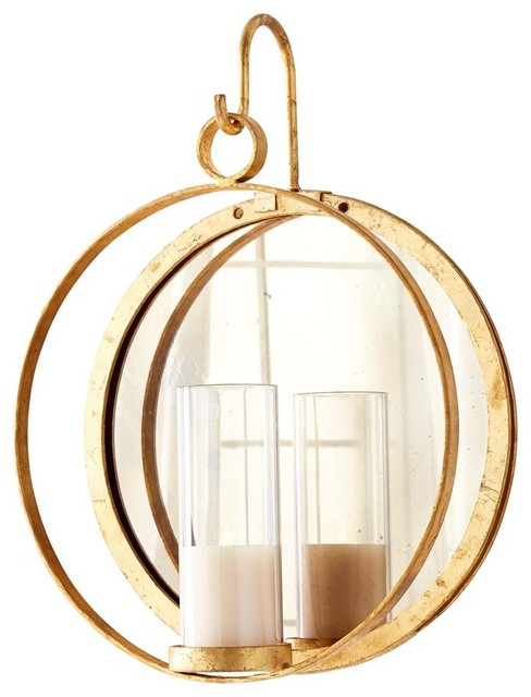 large circular mirrored gold wall - Gold Candle Holders