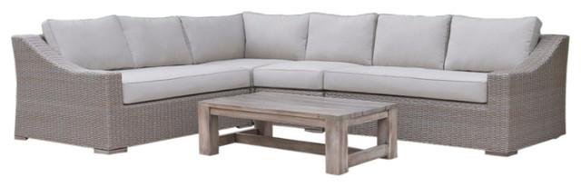 Maraise 5-Piece Outdoor Sectional Sofa Set, Beige.