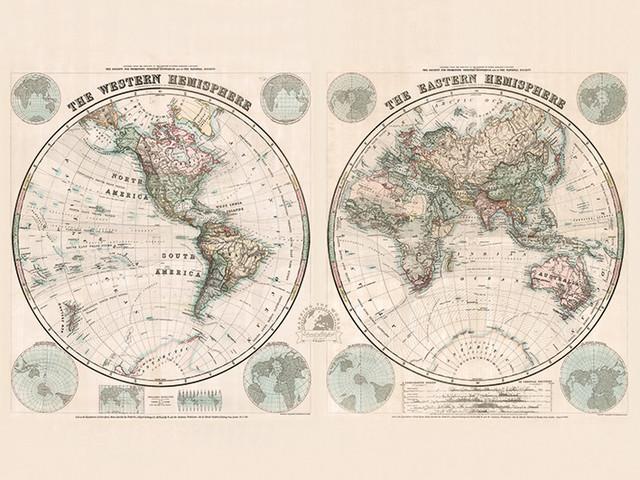 """Eastern and Western Hemispheres, 1877"" Canvas Print by Stanfords, 80x60cm"
