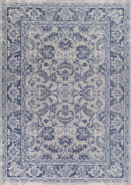 "Retreat 0107 Slate Blue Kashan Rug, 5&x27;x7&x27;""."