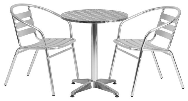 Skovde 3-Piece Table Set Round 23.5&x27;&x27; Aluminum With 2 Slat Back Chairs.