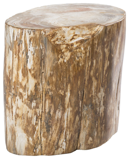 Aire Furniture NoLiTa Petrified Wood StoolSide Table - Side