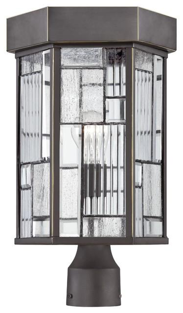 Kingsley 1-Light Outdoor Post Light, Aged Bronze Patina.
