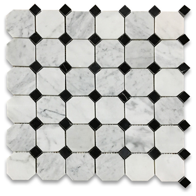 "12""x12"" Carrara White Octagon Mosaic, Black Dots Polished, Chip Size: 2""."