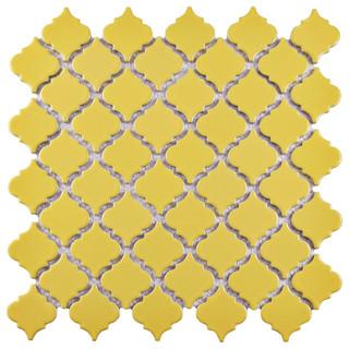 "12.38""x12.5"" Antaeus Mosaic Floor/Wall Tiles, Set of 10, Buttercup"