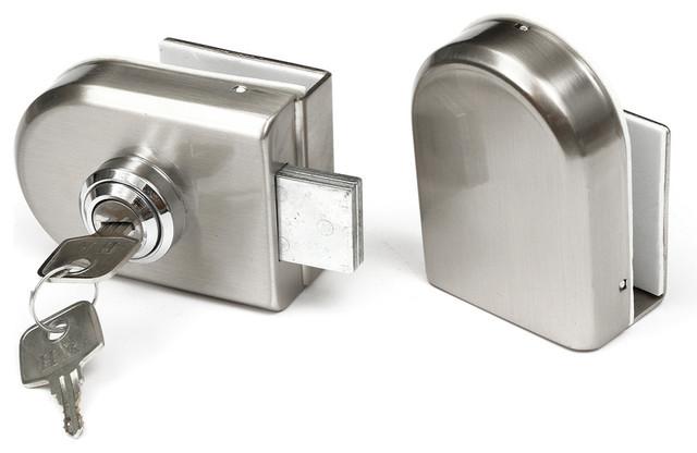 Steel 12Mm Glass Door Lock Double Swing Hinged Frameless Door ...
