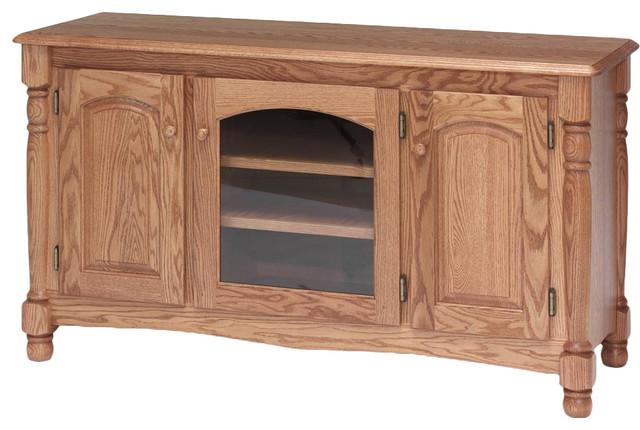 Country Trend Solid Wood Oak TV Stand traditional-entertainment-centers-and- tv