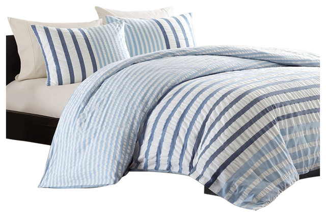 King Size Blue White Navy Stripe Bed, A Bag Seersucker
