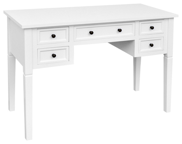 Vidaxl Writing Desk With 5 Drawers White