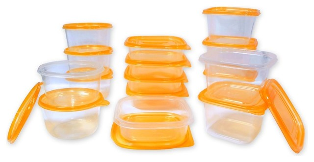 30-Piece Plastic Food Storage Containers Set With Air Tight Orange Lids.