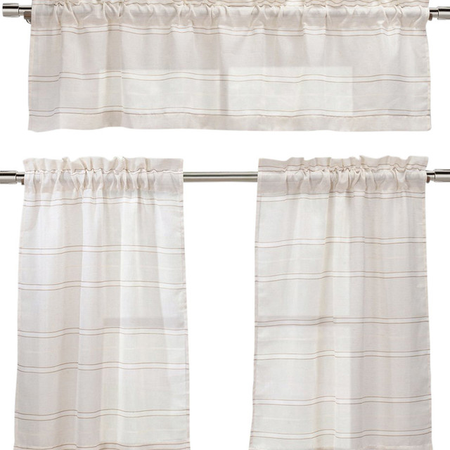 Linen Blend Natural Taupe Beige White Striped Sheer Window Treatments.