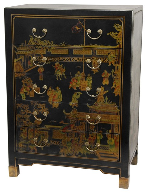 Oriental Furniture - Black Lacquer Village Life Five Drawer Chest - View in Your Room! | Houzz