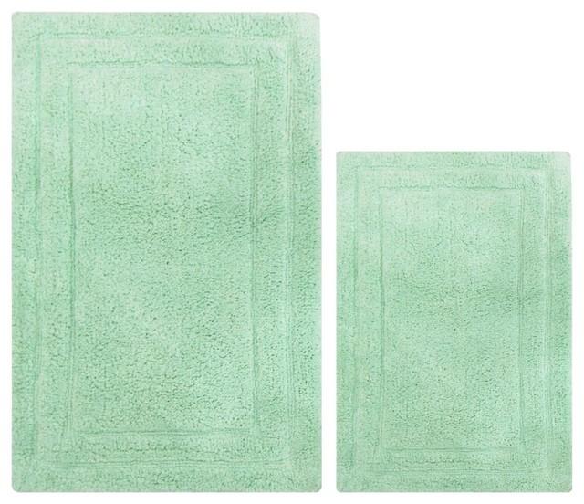 Anti Skid Clic 2 Piece Cotton Bath Rug Set Mint Green