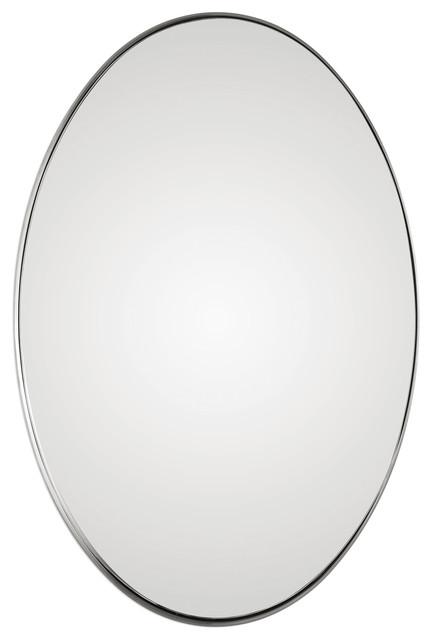 Deep Profile Classic Nickel Oval Wall Mirror, Vanity Silver Elegant Midcentury.