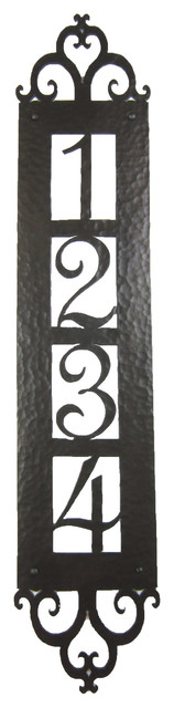 Bushere son iron studio inc spanish style hammered for Spanish style house numbers