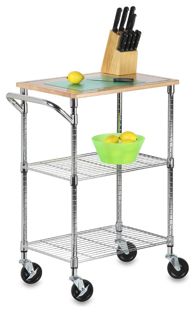 chrome roll around kitchen cart with cutting board contemporary kitchen islands and kitchen. Black Bedroom Furniture Sets. Home Design Ideas