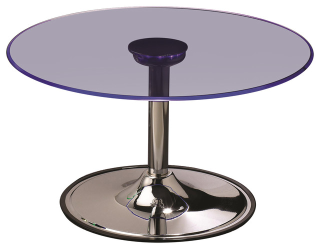 Led Transitioning Led Coffee Table With Chrome Base Contemporary Coffee Tables