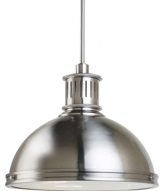 Sea Gull 65087-962, Pratt Street Metal Pendant Light, Brushed Nickel.