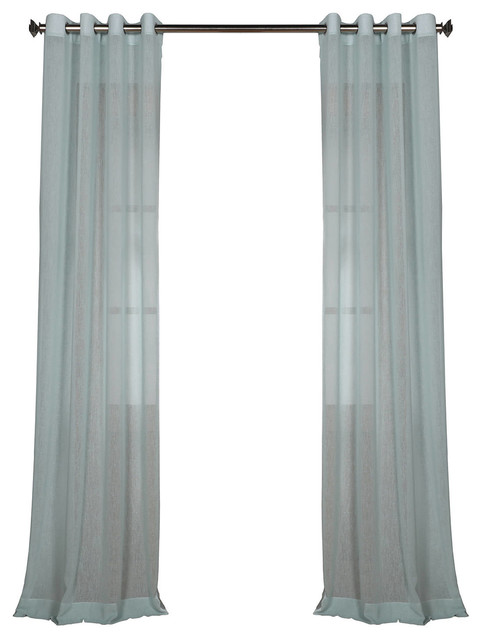 Rio Sky Grommet Solid Fauxlinen Sheer Curtain Single Panel, 50x108.