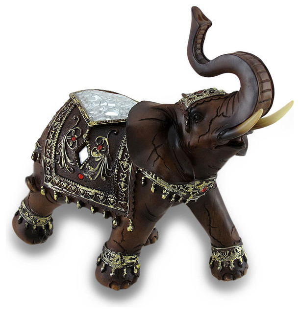 Wood Finish Indian Elephant Statue Crackle Glass Accents Traditional Decorative Objects And