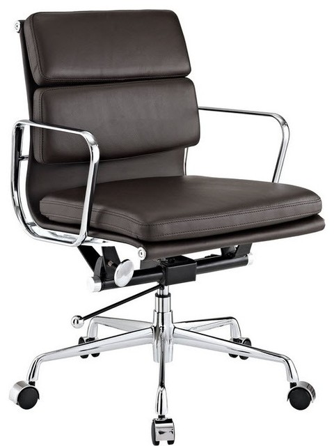 Modern Soft Pad Office Chair, Brown.
