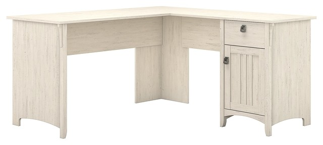 Salinas L Shaped Desk With Storage, Antique White - Salinas L Shaped Desk With Storage, Antique White - Farmhouse