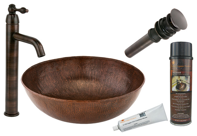 Large Round Copper Vessel With Orb Vessel Faucet.