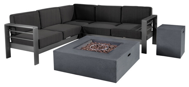 GDF Studio 5-Piece Coral Bay Outdoor V-Shape Sectional Set With Fire Tab, Dark G