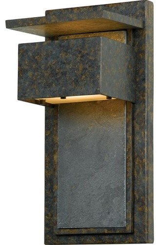 Zephyr Outdoor Wall Lantern, Muted Bronze Finish, Small.