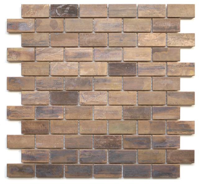 118x118 Medium Brick Antique Style Copper Mosaic Tile - Mosaic-tile-backsplash-model