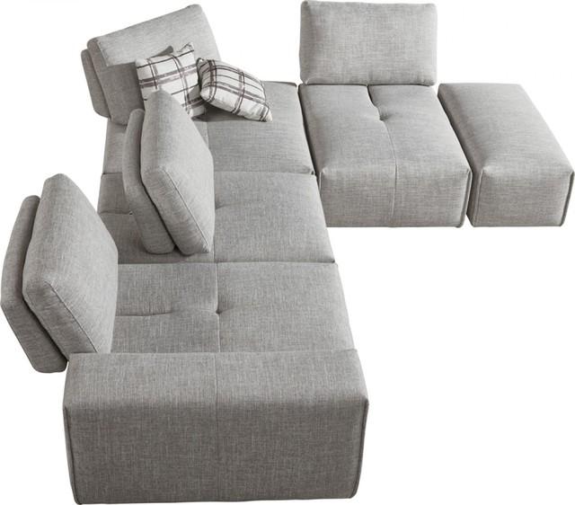 Divani Casa Platte Modern Gray Fabric Modular Sectional Sofa