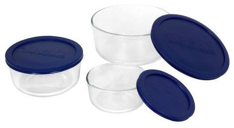 6 Piece Round Glass Food Storage Set With Blue Lids, Made, Usa Contemporary