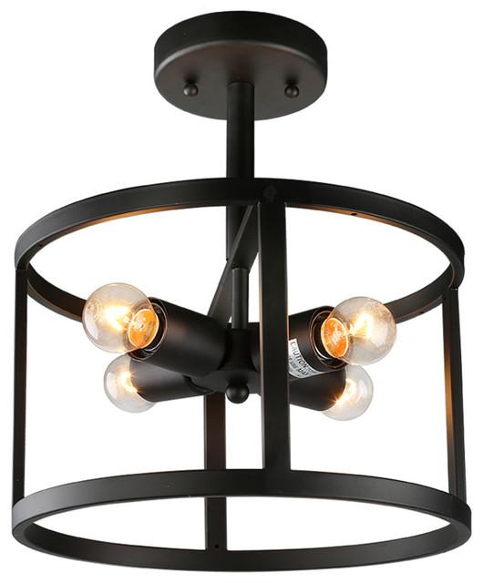 light drum semi flush mount industrial flush mount ceiling lighting. Black Bedroom Furniture Sets. Home Design Ideas