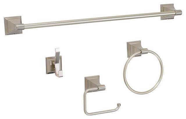 Designers Impressions 100 Series Satin Nickel Bathroom Hardware Bath Set