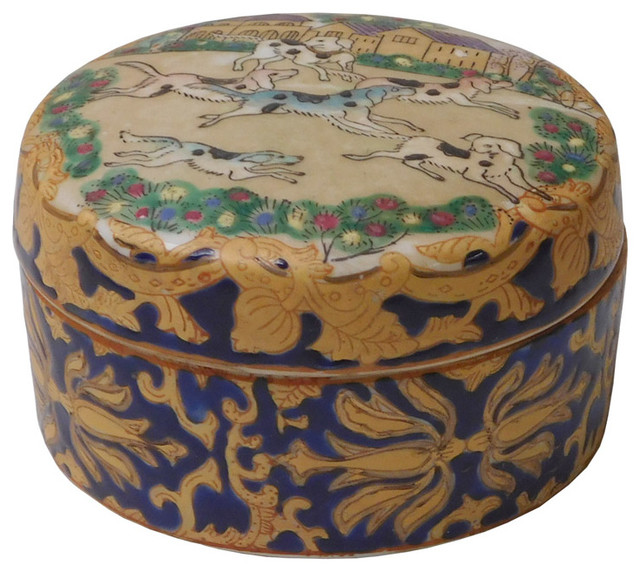 Chinese Oriental Porcelain Dominos Dog Container Box