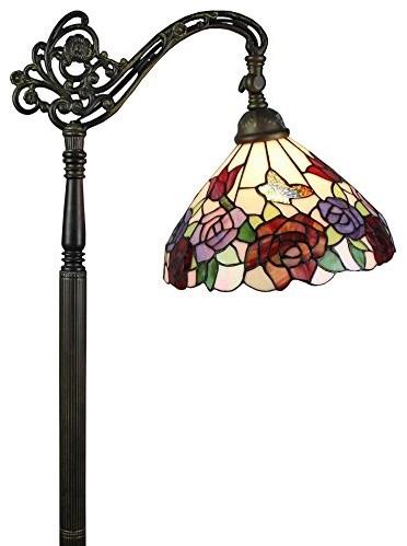 Amora Lighting Tiffany Style Roses Reading Floor Lamp 62 In.